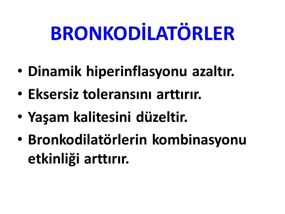 BRONKODİLATÖRLER Dinamik hiperinflasyonu azaltır.