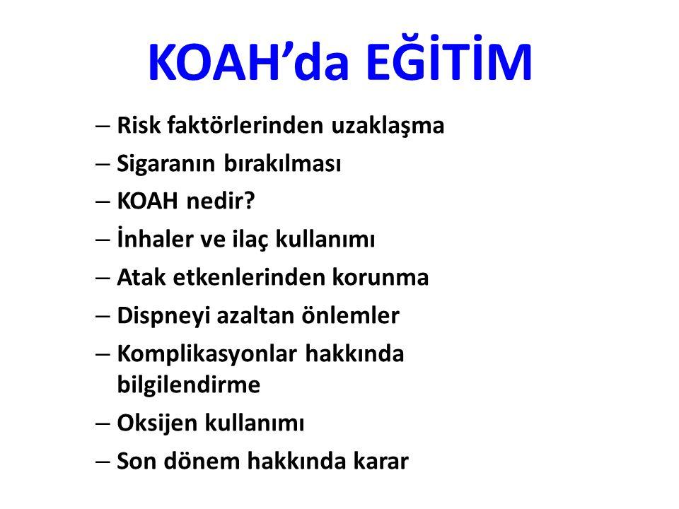 KOAH'da EĞİTİM Risk faktörlerinden uzaklaşma Sigaranın bırakılması