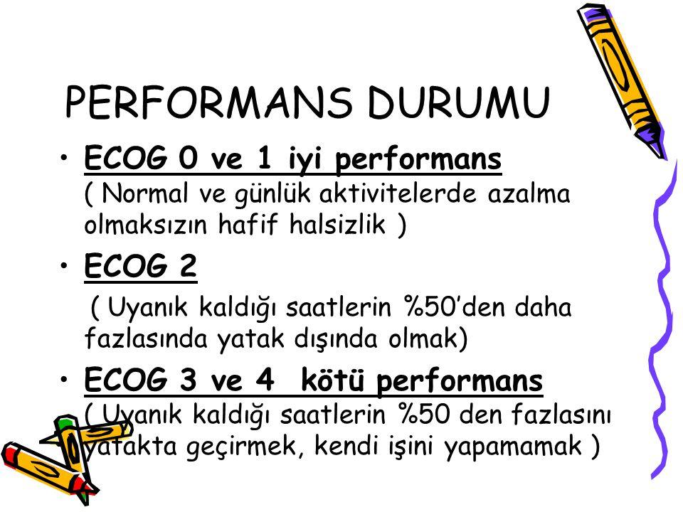 PERFORMANS DURUMU ECOG 0 ve 1 iyi performans ( Normal ve günlük aktivitelerde azalma olmaksızın hafif halsizlik )