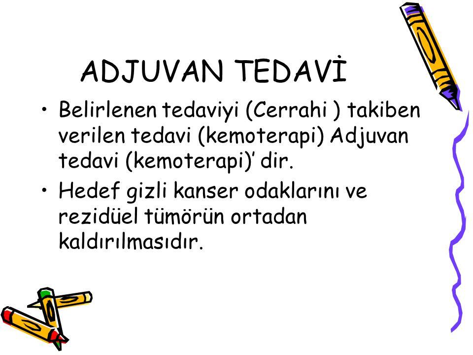 ADJUVAN TEDAVİ Belirlenen tedaviyi (Cerrahi ) takiben verilen tedavi (kemoterapi) Adjuvan tedavi (kemoterapi)' dir.