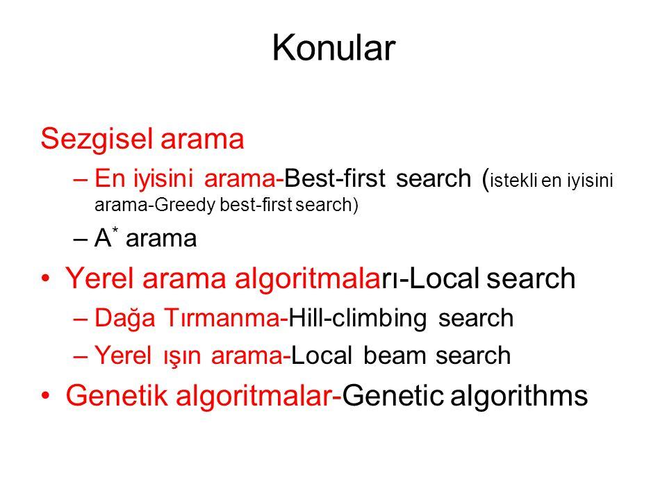 Konular Sezgisel arama Yerel arama algoritmaları-Local search