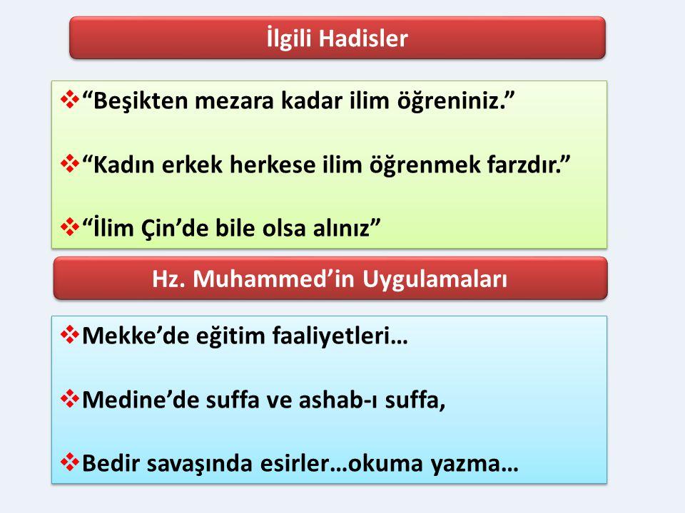 Hz. Muhammed'in Uygulamaları