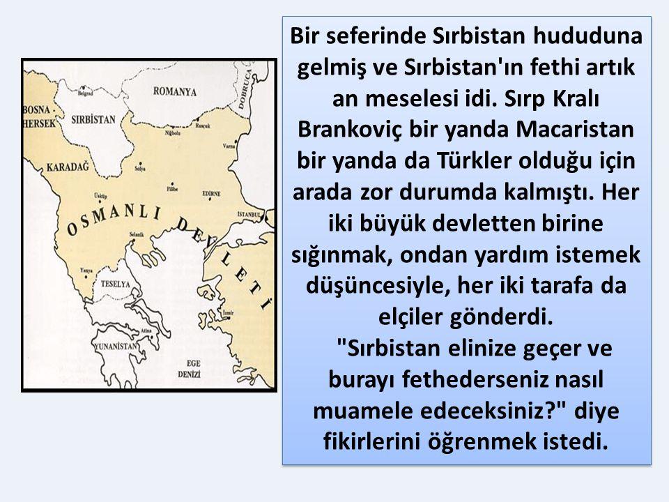 Bir seferinde Sırbistan hududuna gelmiş ve Sırbistan ın fethi artık an meselesi idi. Sırp Kralı Brankoviç bir yanda Macaristan bir yanda da Türkler olduğu için arada zor durumda kalmıştı. Her iki büyük devletten birine sığınmak, ondan yardım istemek düşüncesiyle, her iki tarafa da elçiler gönderdi.