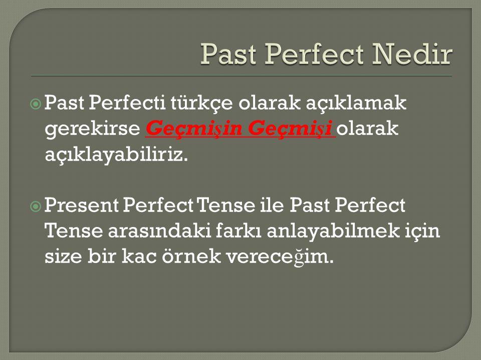 Past Perfect Nedir Past Perfecti türkçe olarak açıklamak gerekirse Geçmişin Geçmişi olarak açıklayabiliriz.
