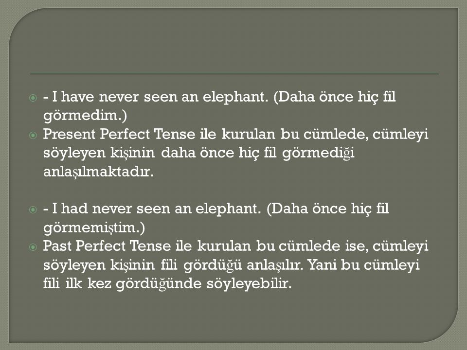 - I have never seen an elephant. (Daha önce hiç fil görmedim.)