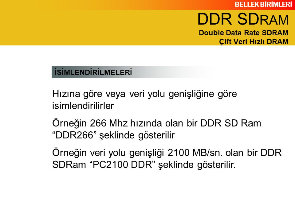 DDR SDRAM Double Data Rate SDRAM Çift Veri Hızlı DRAM