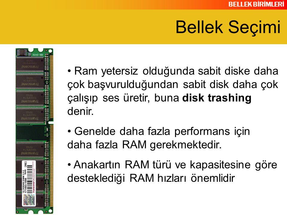 Bellek Seçimi Ram yetersiz olduğunda sabit diske daha çok başvurulduğundan sabit disk daha çok çalışıp ses üretir, buna disk trashing denir.