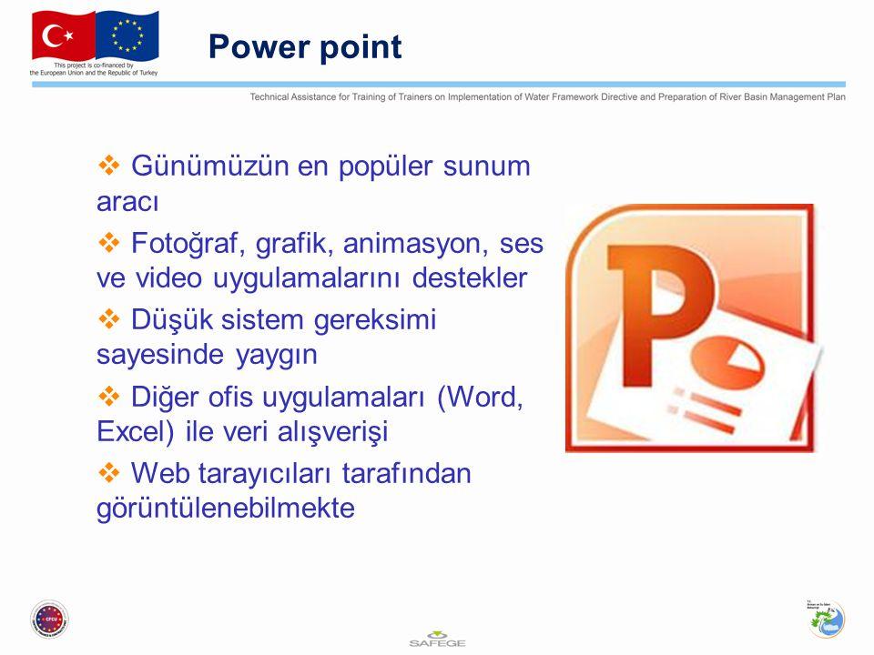 Power point Günümüzün en popüler sunum aracı