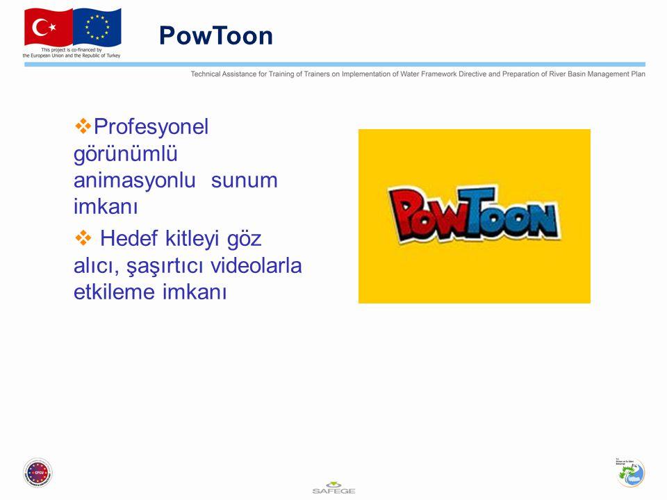 PowToon Profesyonel görünümlü animasyonlu sunum imkanı
