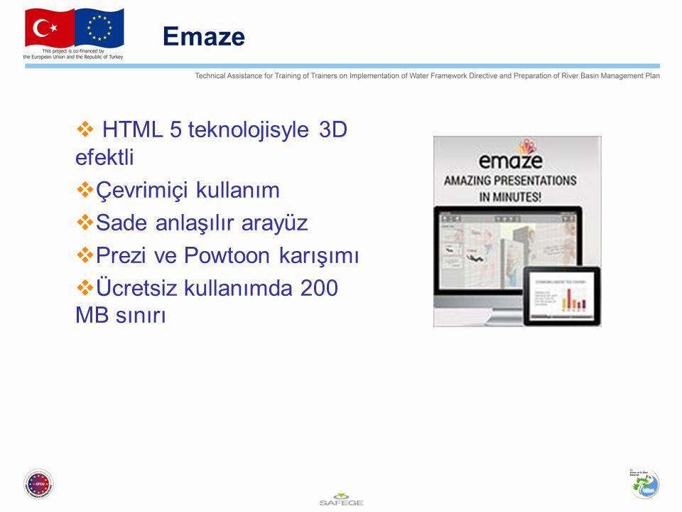 Emaze HTML 5 teknolojisyle 3D efektli Çevrimiçi kullanım