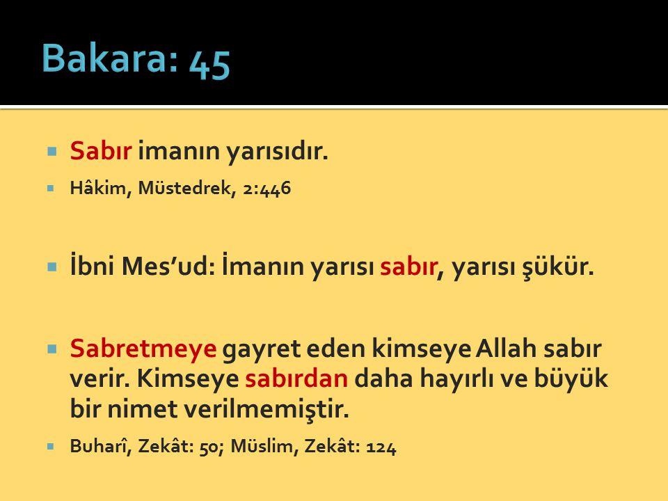 Bakara: 45 Sabır imanın yarısıdır.