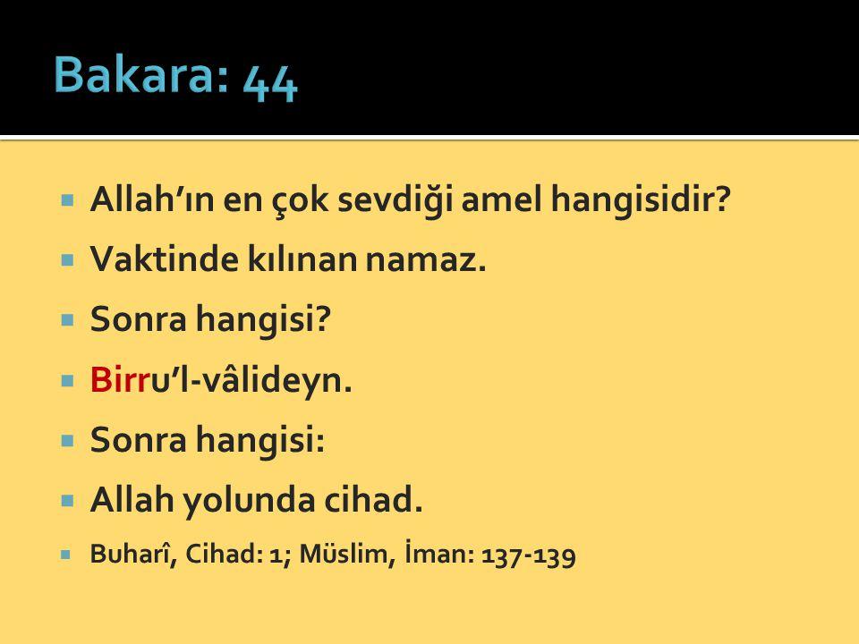 Bakara: 44 Allah'ın en çok sevdiği amel hangisidir