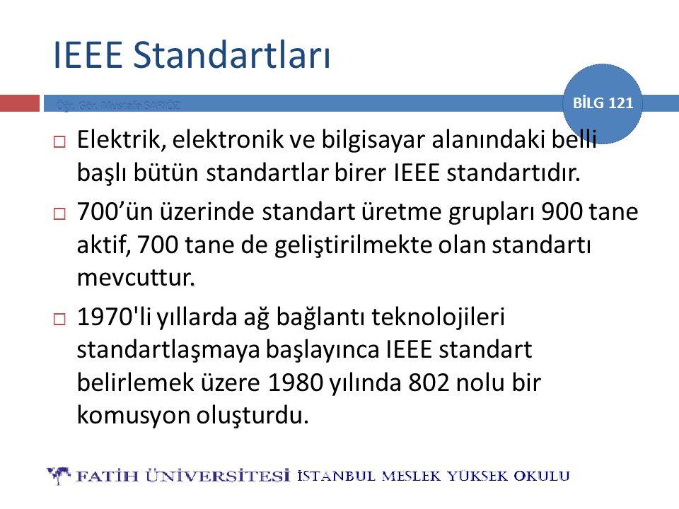IEEE Standartları Elektrik, elektronik ve bilgisayar alanındaki belli başlı bütün standartlar birer IEEE standartıdır.