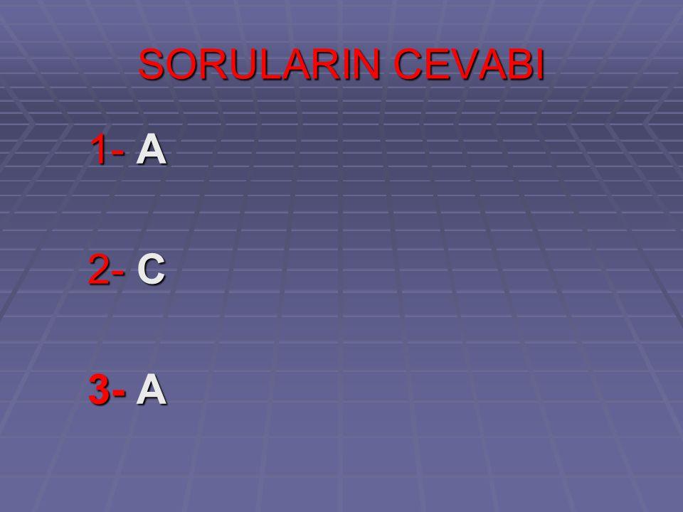 SORULARIN CEVABI 1- A 2- C 3- A