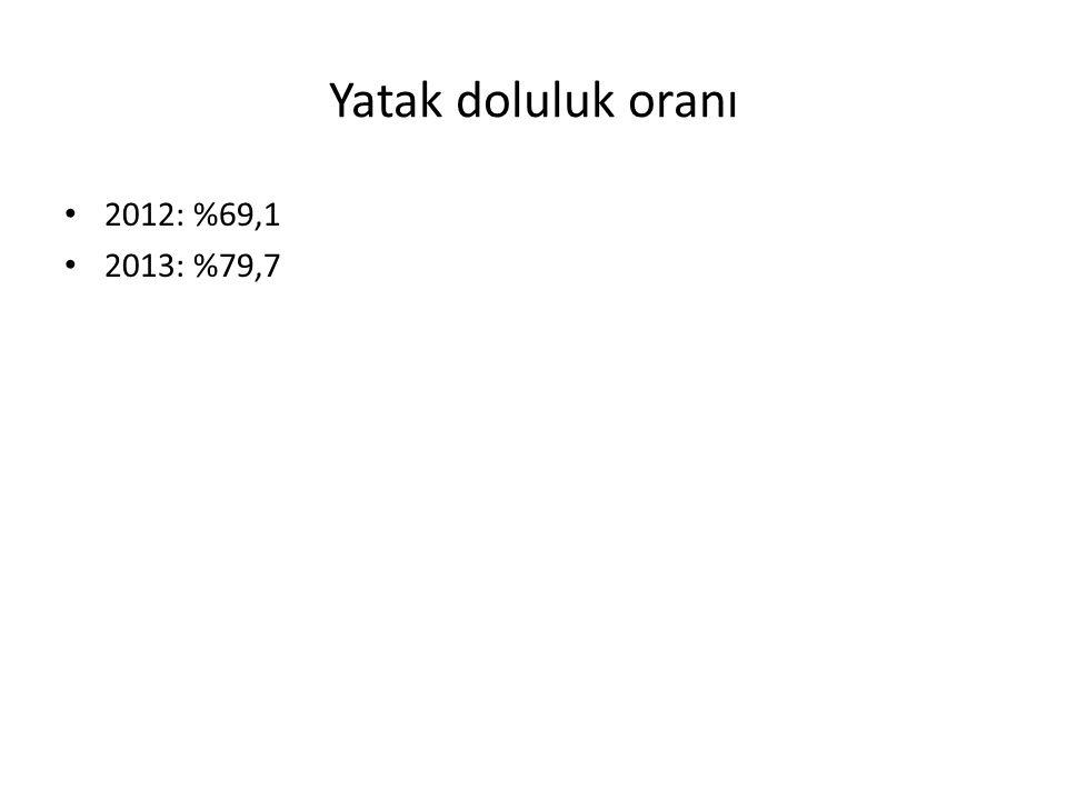 Yatak doluluk oranı 2012: %69,1 2013: %79,7