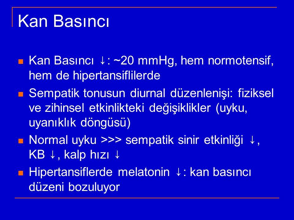 Kan Basıncı Kan Basıncı ↓: ~20 mmHg, hem normotensif, hem de hipertansiflilerde.