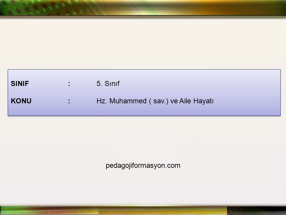 SINIF : 5. Sınıf KONU : Hz. Muhammed ( sav.) ve Aile Hayatı pedagojiformasyon.com