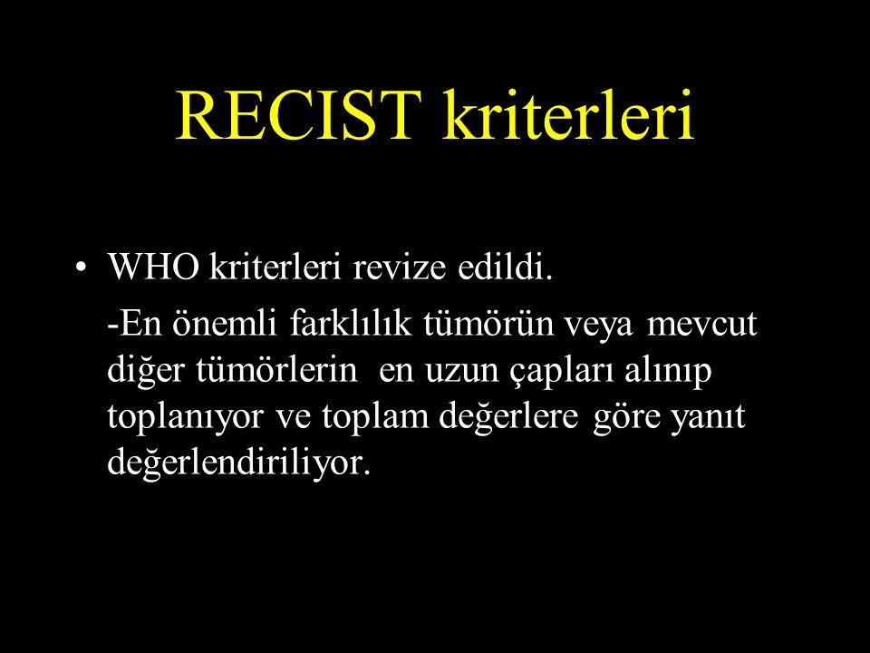 RECIST kriterleri WHO kriterleri revize edildi.
