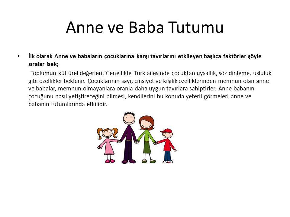 Anne ve Baba Tutumu İlk olarak Anne ve babaların çocuklarına karşı tavırlarını etkileyen başlıca faktörler şöyle sıralar isek;