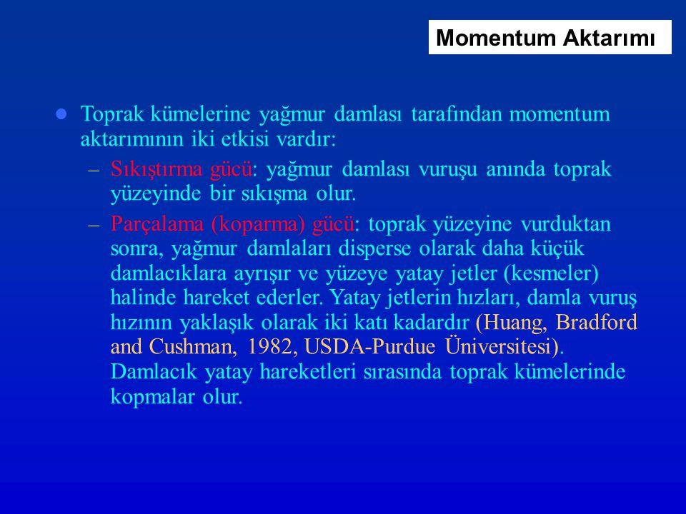 Momentum Aktarımı Toprak kümelerine yağmur damlası tarafından momentum aktarımının iki etkisi vardır: