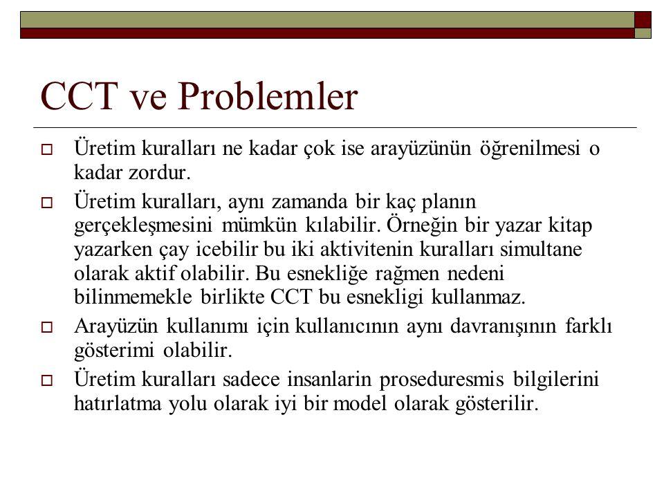 CCT ve Problemler Üretim kuralları ne kadar çok ise arayüzünün öğrenilmesi o kadar zordur.