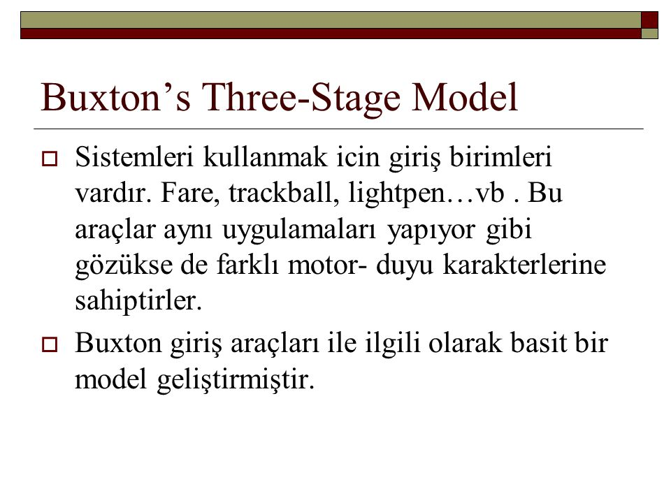 Buxton's Three-Stage Model