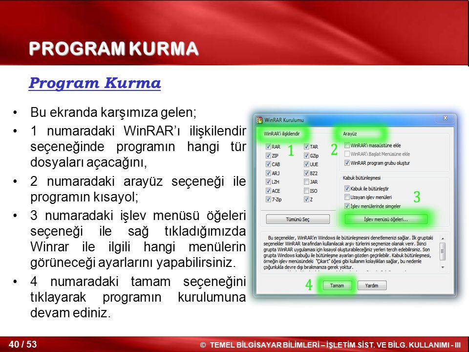 PROGRAM KURMA Program Kurma Bu ekranda karşımıza gelen;