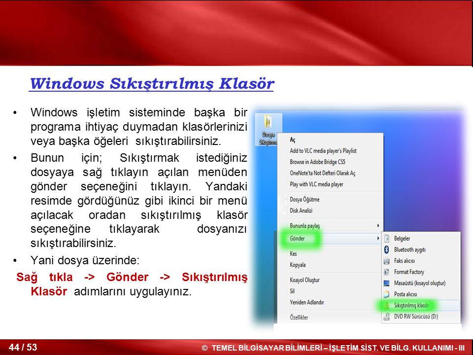 Windows Sıkıştırılmış Klasör