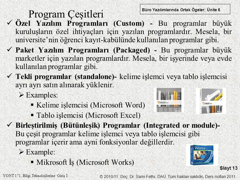 Program Çeşitleri