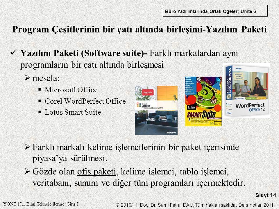Program Çeşitlerinin bir çatı altında birleşimi-Yazılım Paketi