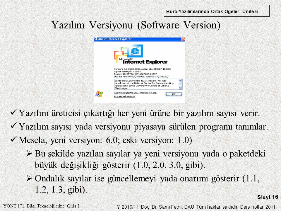 Yazılım Versiyonu (Software Version)