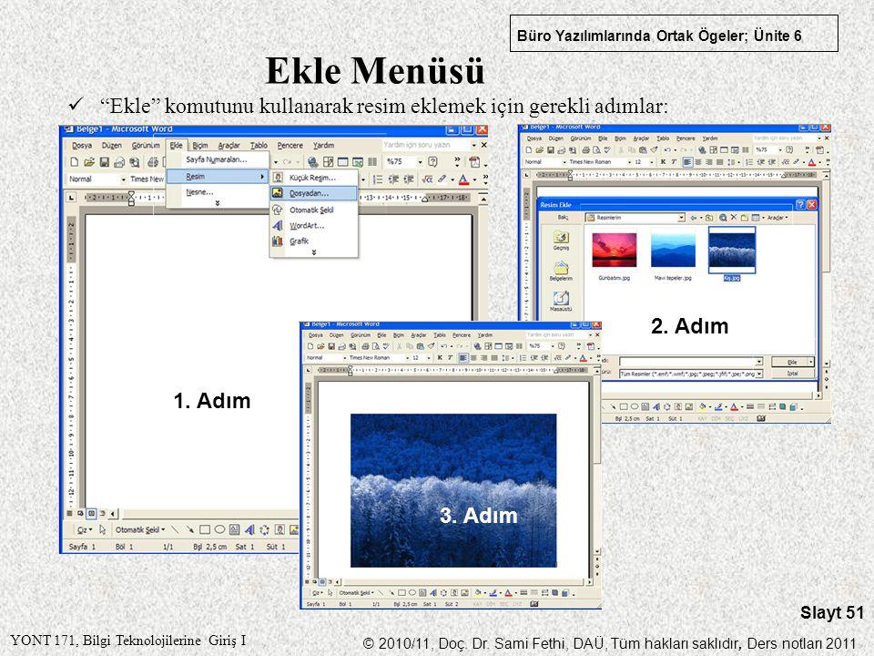 Ekle Menüsü Ekle komutunu kullanarak resim eklemek için gerekli adımlar: 2. Adım 1. Adım 3. Adım