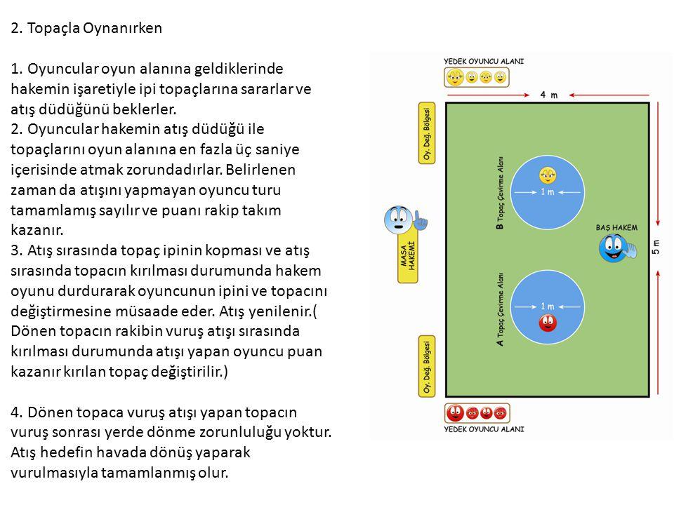 2. Topaçla Oynanırken 1. Oyuncular oyun alanına geldiklerinde hakemin işaretiyle ipi topaçlarına sararlar ve atış düdüğünü beklerler.
