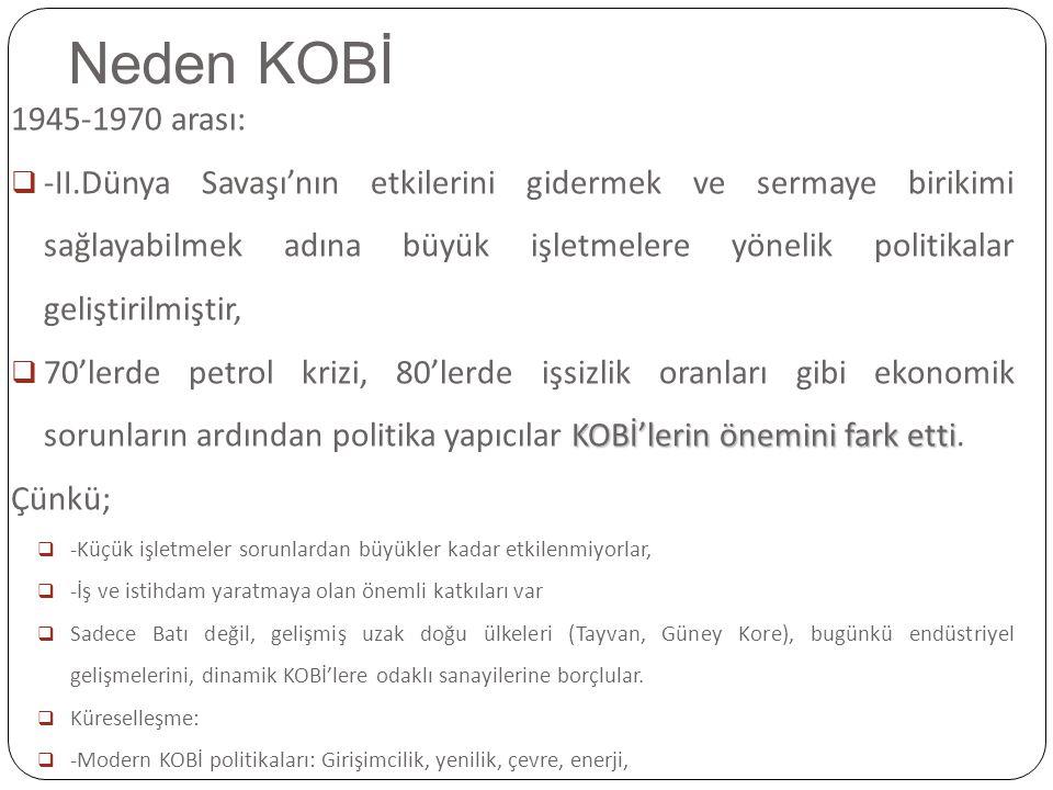 Neden KOBİ 1945-1970 arası: