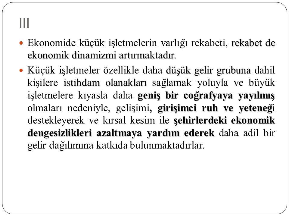 III Ekonomide küçük işletmelerin varlığı rekabeti, rekabet de ekonomik dinamizmi artırmaktadır.