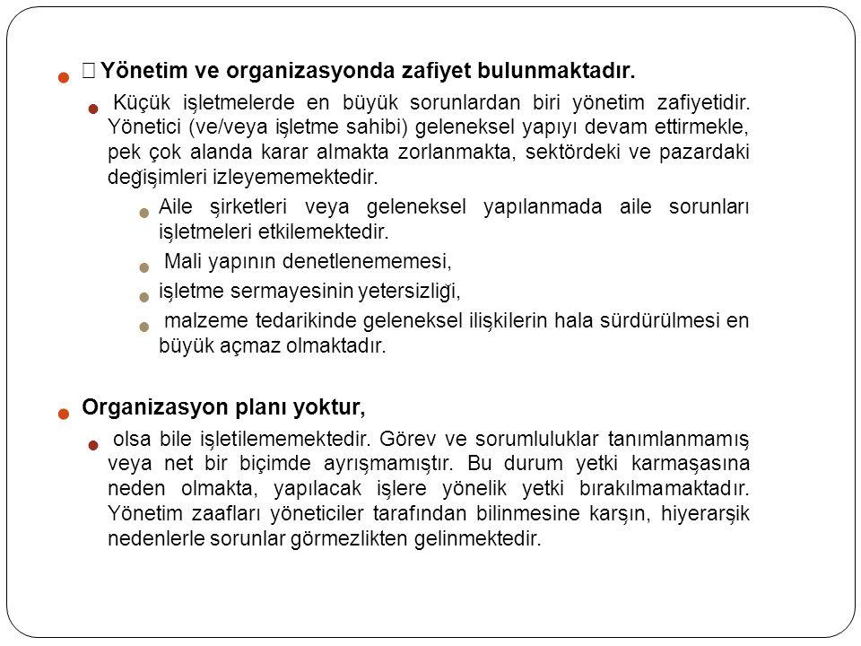 • Yönetim ve organizasyonda zafiyet bulunmaktadır.