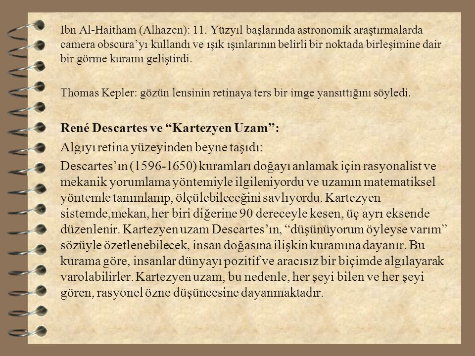 René Descartes ve Kartezyen Uzam :