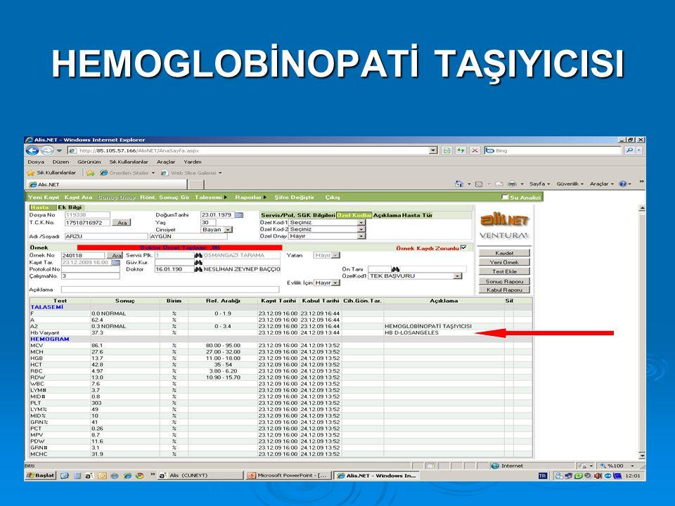 HEMOGLOBİNOPATİ TAŞIYICISI