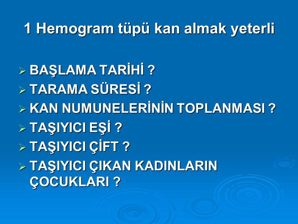 1 Hemogram tüpü kan almak yeterli