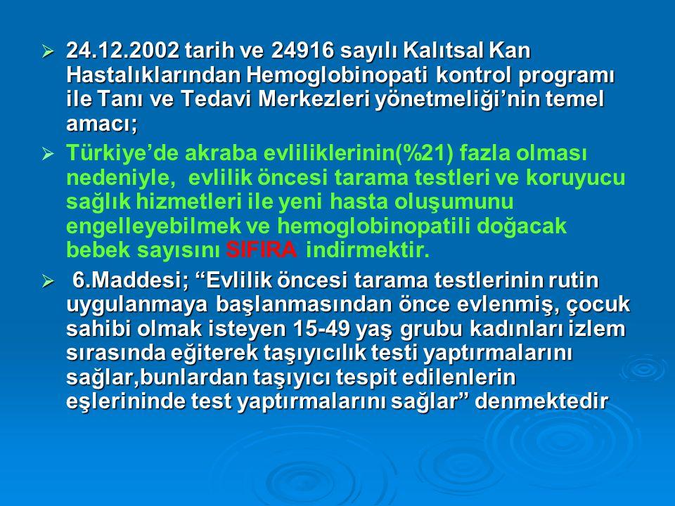 24.12.2002 tarih ve 24916 sayılı Kalıtsal Kan Hastalıklarından Hemoglobinopati kontrol programı ile Tanı ve Tedavi Merkezleri yönetmeliği'nin temel amacı;