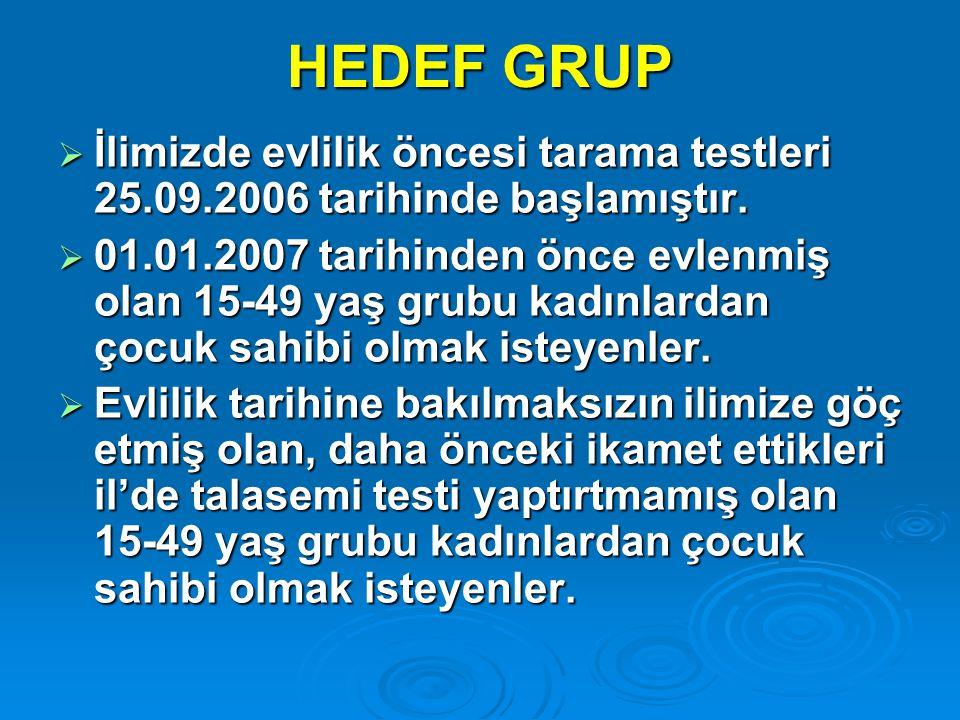 HEDEF GRUP İlimizde evlilik öncesi tarama testleri 25.09.2006 tarihinde başlamıştır.