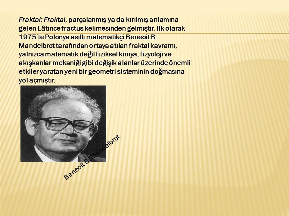 Fraktal: Fraktal, parçalanmış ya da kırılmış anlamına gelen Lâtince fractus kelimesinden gelmiştir. İlk olarak 1975'te Polonya asıllı matematikçi Beneoit B. Mandelbrot tarafından ortaya atılan fraktal kavramı, yalnızca matematik değil fiziksel kimya, fizyoloji ve akışkanlar mekaniği gibi değişik alanlar üzerinde önemli etkiler yaratan yeni bir geometri sisteminin doğmasına yol açmıştır.