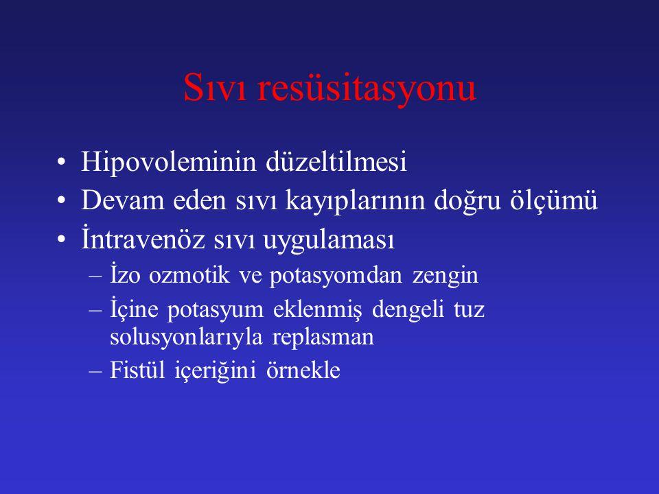Sıvı resüsitasyonu Hipovoleminin düzeltilmesi