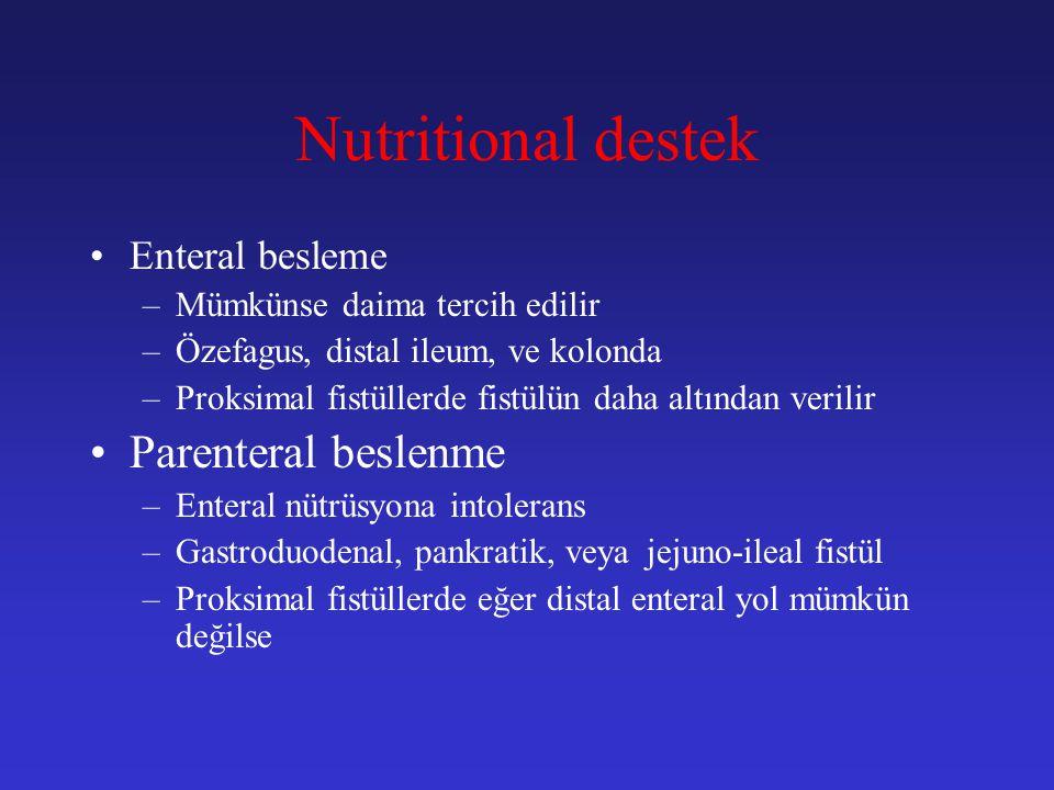 Nutritional destek Parenteral beslenme Enteral besleme