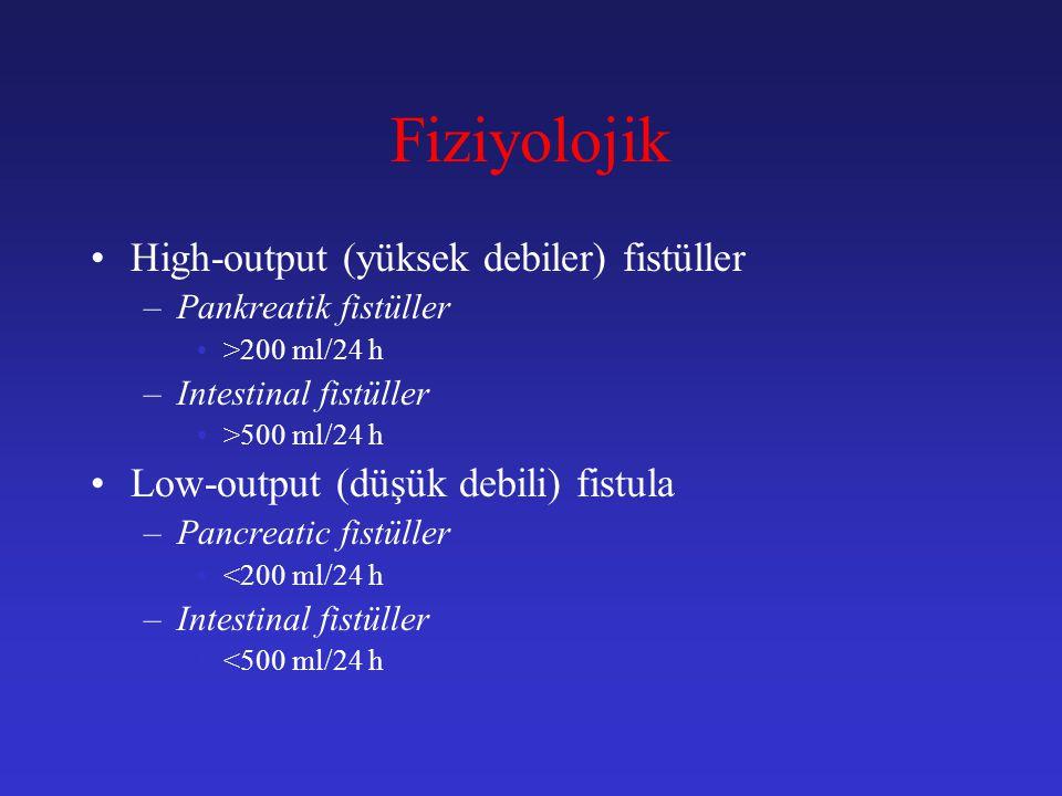 Fiziyolojik High-output (yüksek debiler) fistüller