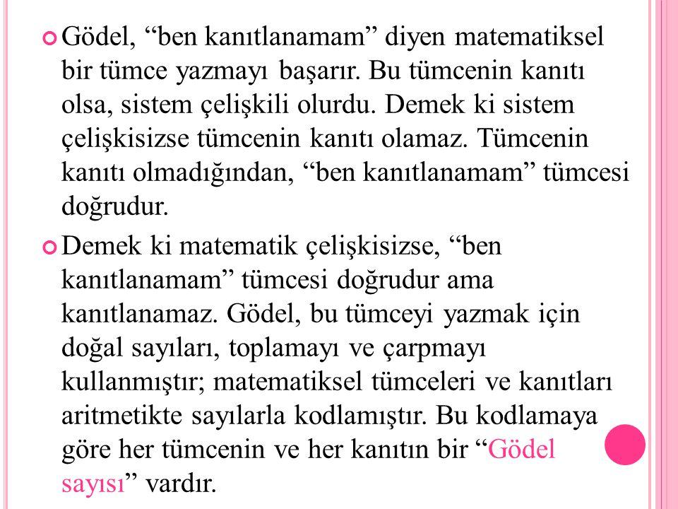 Gödel, ben kanıtlanamam diyen matematiksel bir tümce yazmayı başarır