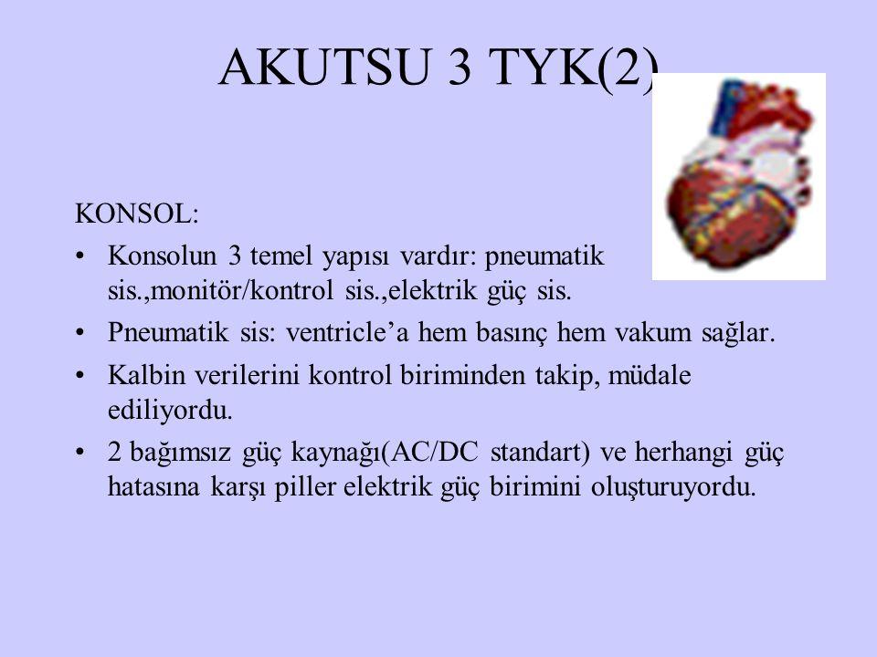 AKUTSU 3 TYK(2) KONSOL: Konsolun 3 temel yapısı vardır: pneumatik sis.,monitör/kontrol sis.,elektrik güç sis.
