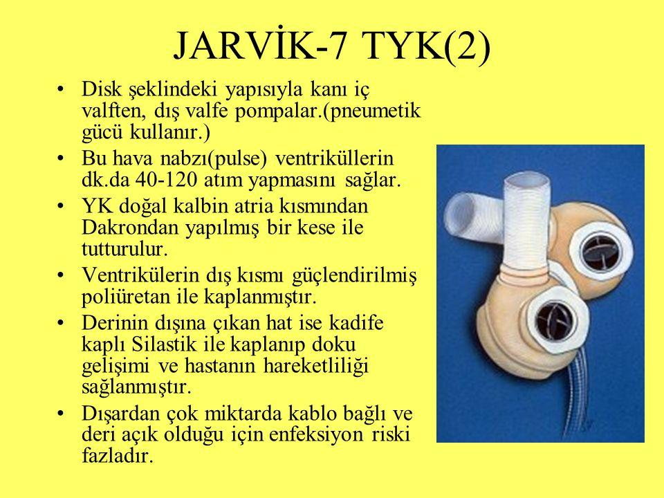 JARVİK-7 TYK(2) Disk şeklindeki yapısıyla kanı iç valften, dış valfe pompalar.(pneumetik gücü kullanır.)