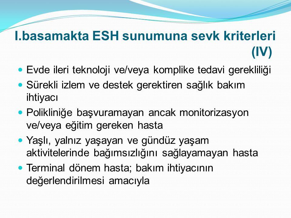 I.basamakta ESH sunumuna sevk kriterleri (IV)