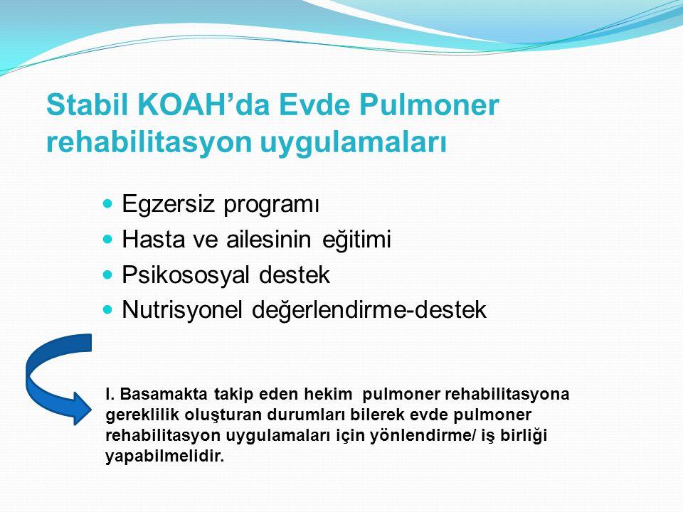 Stabil KOAH'da Evde Pulmoner rehabilitasyon uygulamaları